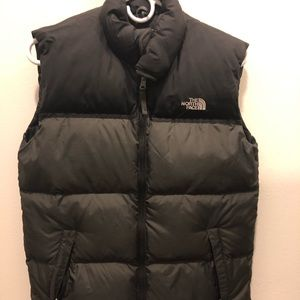 North Face Gray and Black Puffer Vest